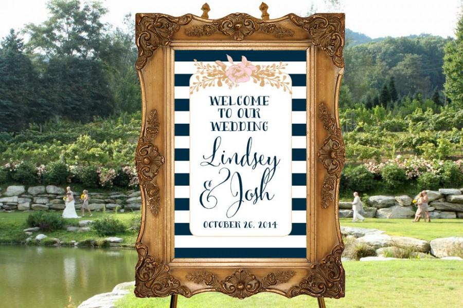 Mariage - Wedding Welcome Sign 11x17- Paper Goods, Blush and Faux Gold Foil Wedding, Nautical Ceremony Sign, Reception Poster, Digital Wedding Sign