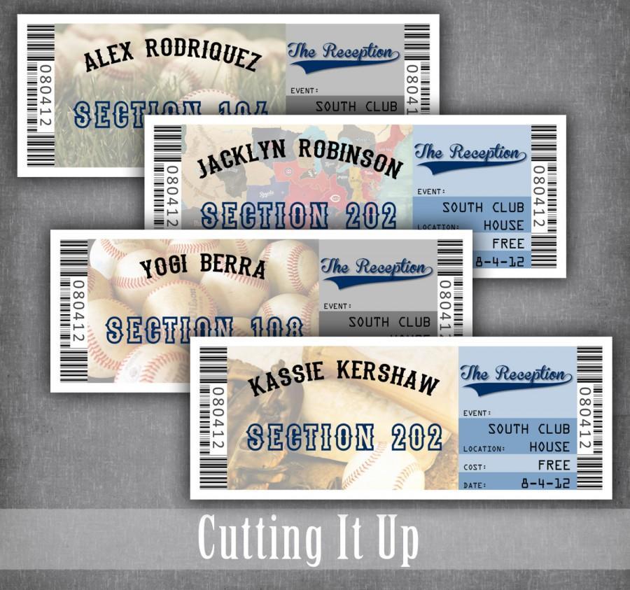 زفاف - Baseball Wedding Escort Cards, Seating Cards, Baseball Wedding Tickets, Baseball Reception, Sports Wedding, Football, Basketball, Softball