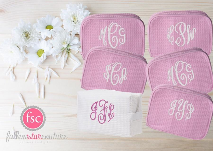 Set Of 6 Bridesmaid Makeup Bags Accesory Monogrammed Bag Wedding Gifts Personalized