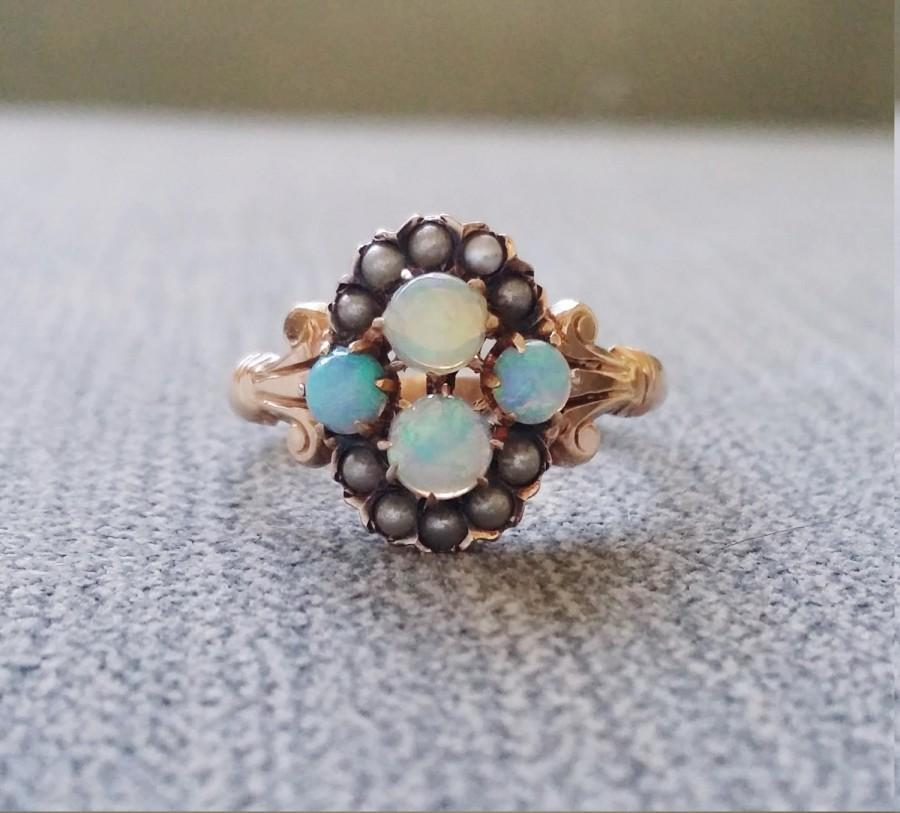 Wedding - Antique Opal Seed Pearl Engagement Ring Edwardian Victorian Filigree Art Nouvea Art Deco Setting 9K European Yellow Antique Gold size 7.25