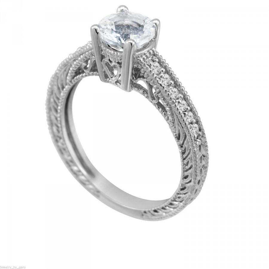 Mariage - White Topaz & Diamonds Engagement Ring 1.00 Carat Antique Vintage Style Engraved 14K White Gold handmade