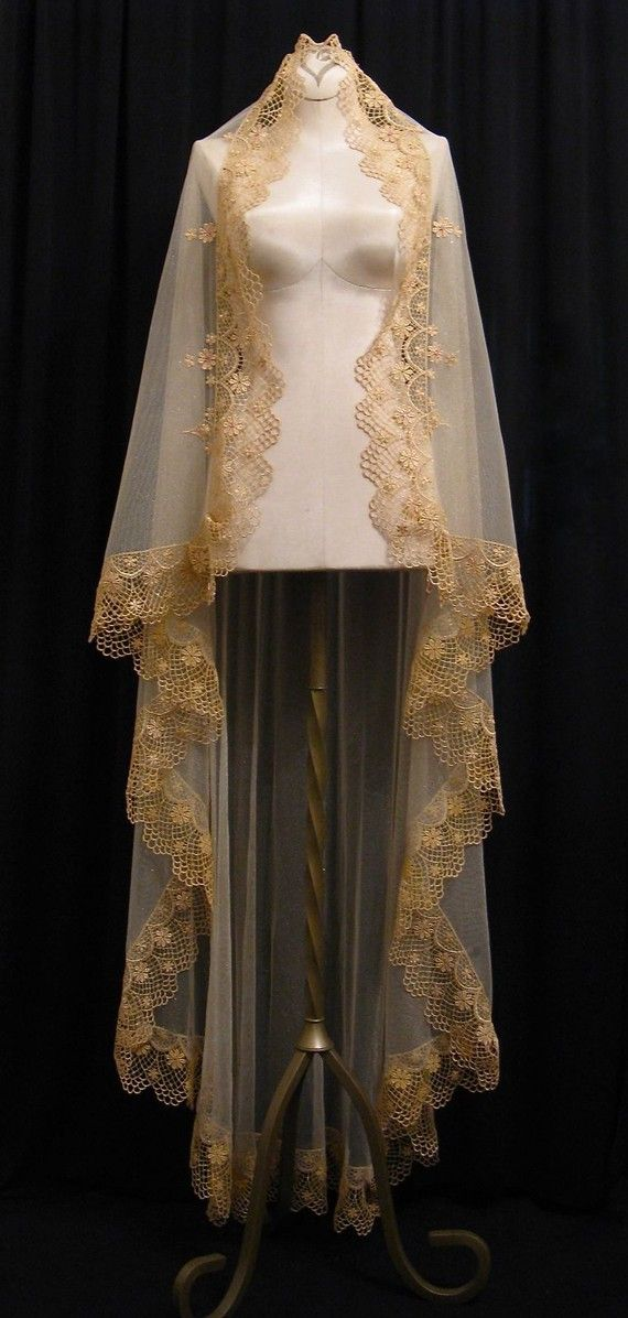 Mariage - Waltz Length Gold Mantilla - One Of A Kind- RESERVED FOR MARIE1217