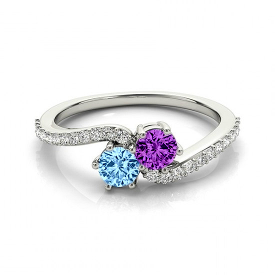 Mother S Day Birthstone Ring Gemstone Diamond Two Stone Rings For Women Mom Blue Topaz And Amethyst