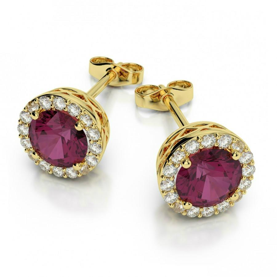 Свадьба - Rhodolite Garnet & Diamond Stud Earrings 14k Yellow Gold by Raven Fine Jewelers - Michael Raven