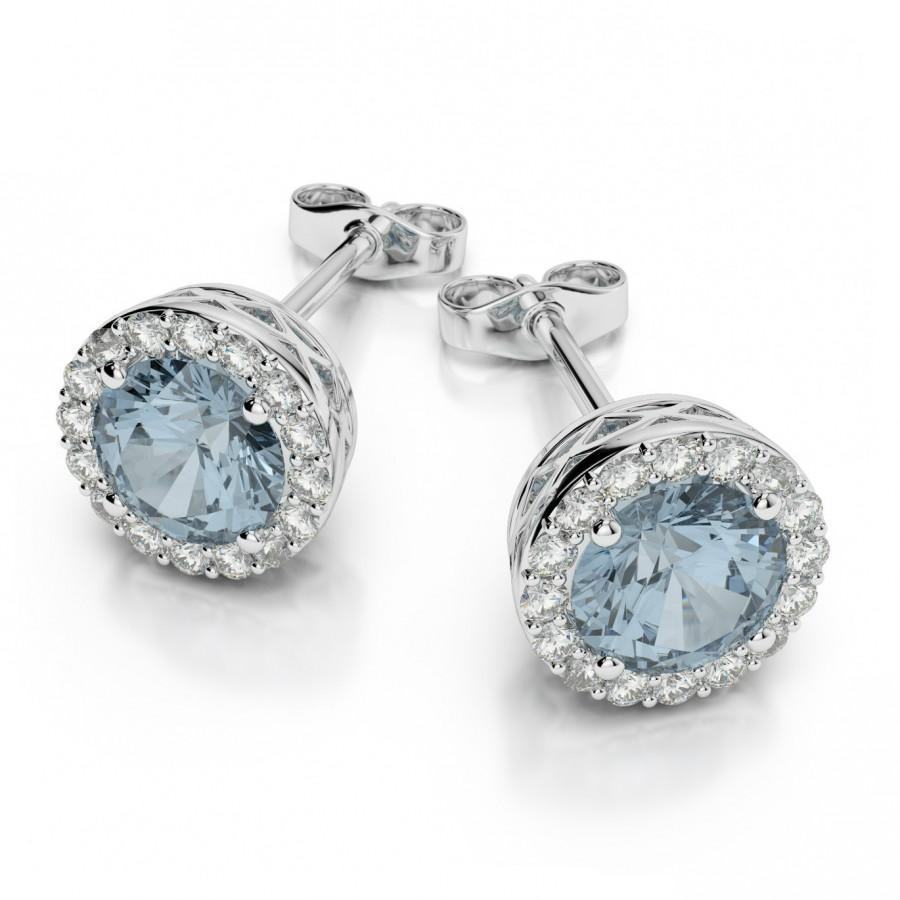 Свадьба - Aquamarine & Diamond Halo Stud Earrings 14k White Gold by Raven Fine Jewelers - Michael Raven