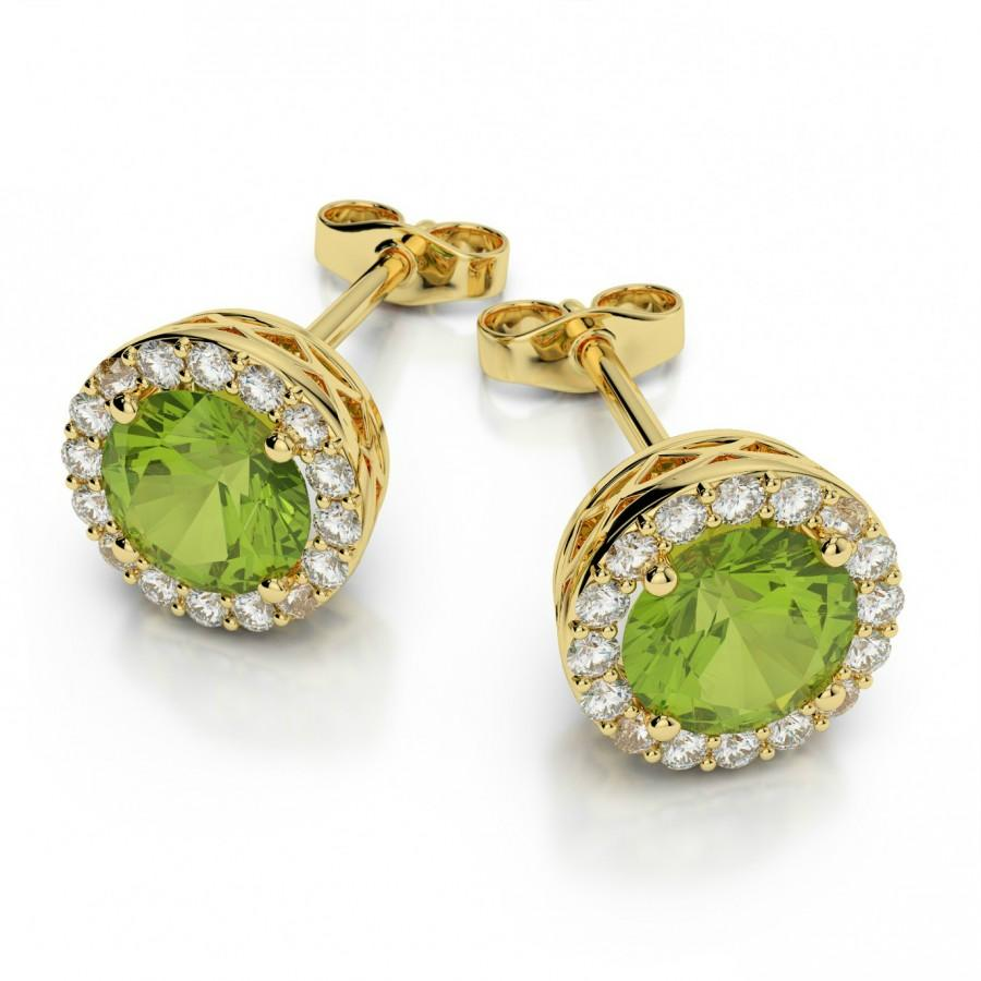 Peridot Diamond Stud Earrings 14k Yellow Gold By Raven Fine Jewelers Michael Jewelry
