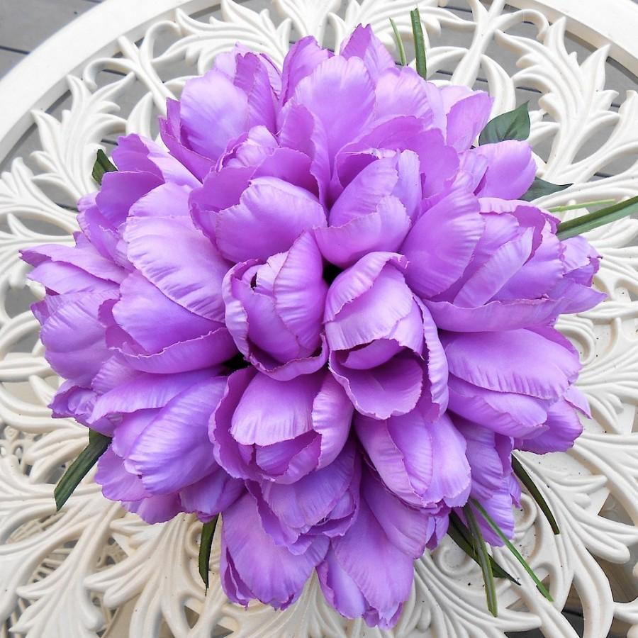 Свадьба - Pale Lilac Purple Amsterdam Style Silk Tulip Wedding Bouquet OOAK ready to ship