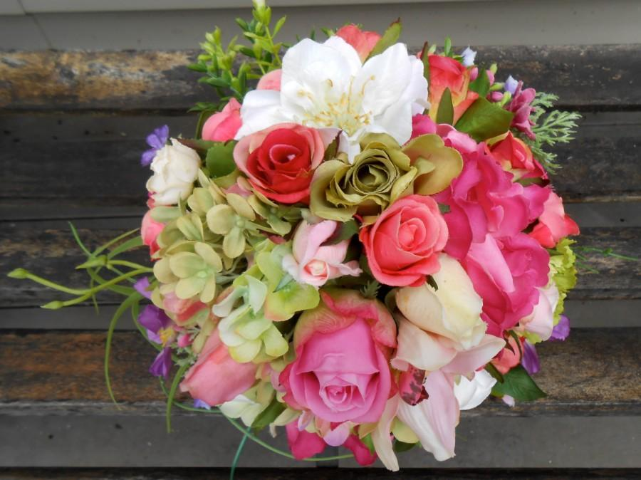 bright pink and green mixed garden rose and hydrangea silk wedding bouquet ooak ready to ship