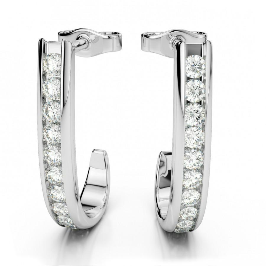 Diamond J Hoop Earrings By Raven Fine Jewelers