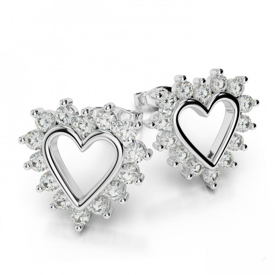 Wedding - Diamond Heart Stud Earrings by Raven Fine Jewelers