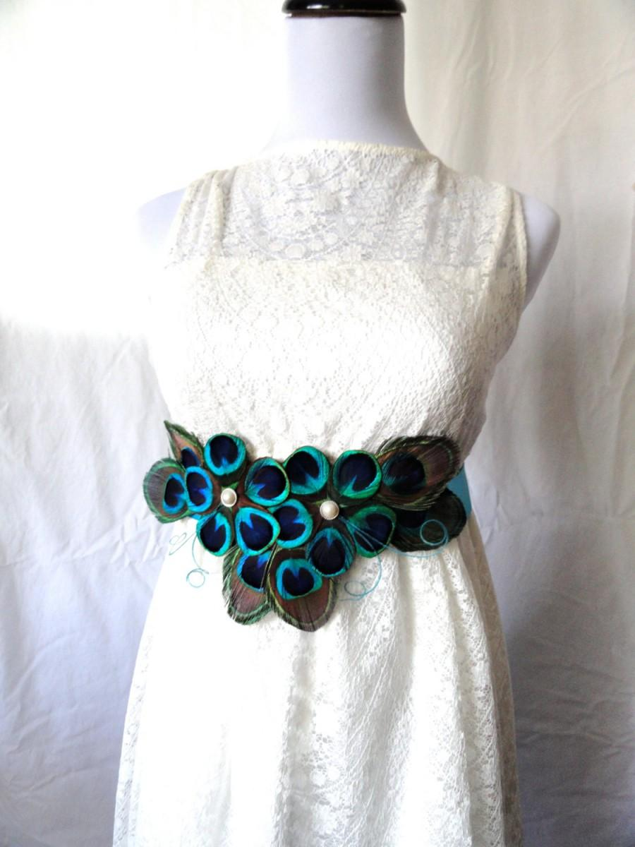 Gwen peacock feather flower bridal wedding sash 2489693 for Peacock wedding dress sash