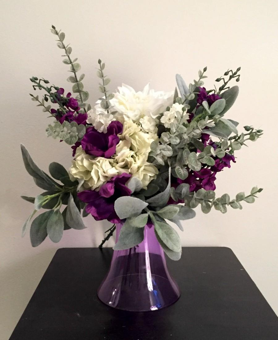 Свадьба - Purple and White Dahlia Bridal or Bridesmaid Bouquet