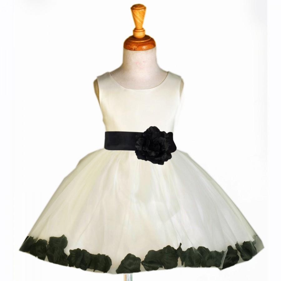 Mariage - Ivory Flower Girl dress tie bow sash pageant petals wedding bridal children bridesmaid toddler elegant sizes 6-18m 2 4 6 8 10 12 14