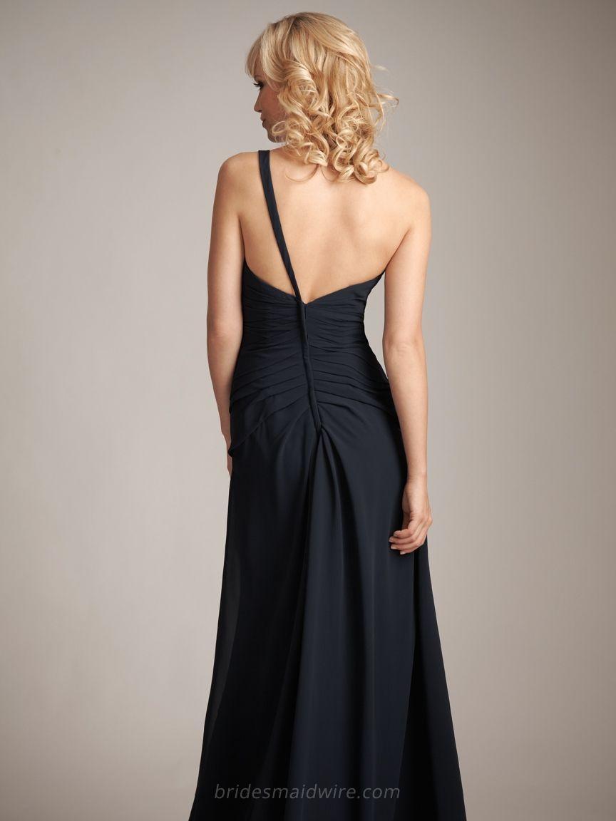 Hochzeit - Sweetheart One-shoulder Long Indigo Chiffon Flower Bridesmaid Formal Dress