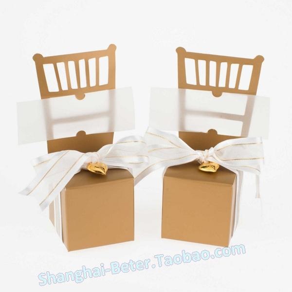 Wedding - 12pcs创意个性 金色主题婚礼喜糖盒 金婚派对TH041唯美餐桌布置