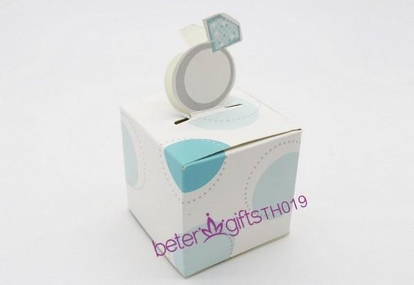 Düğün - 12pcs蓝色钻戒喜糖盒子,糖果盒爆款结婚回赠礼包装 西式婚品TH019