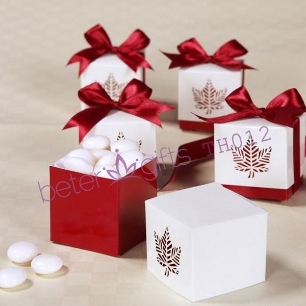 Mariage - 12pcs欧美爆款情人节镭射枫叶喜糖盒糖果盒结婚用品婚庆礼品TH012