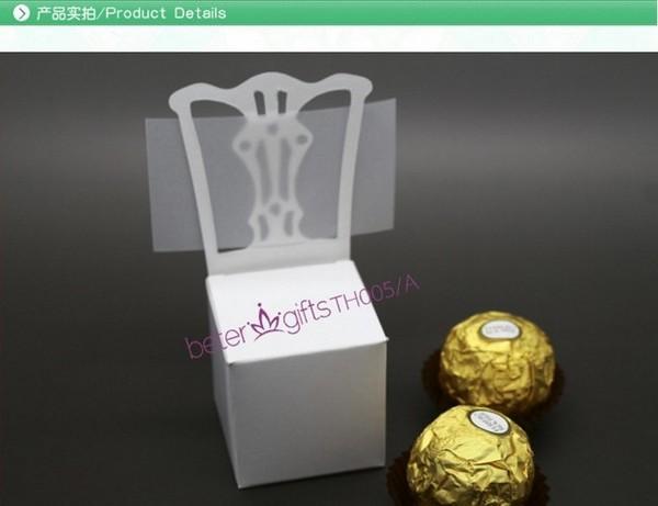 Wedding - 12pcs欧美爆款白色椅子喜糖盒/席位卡,结婚礼品情人节婚品TH005