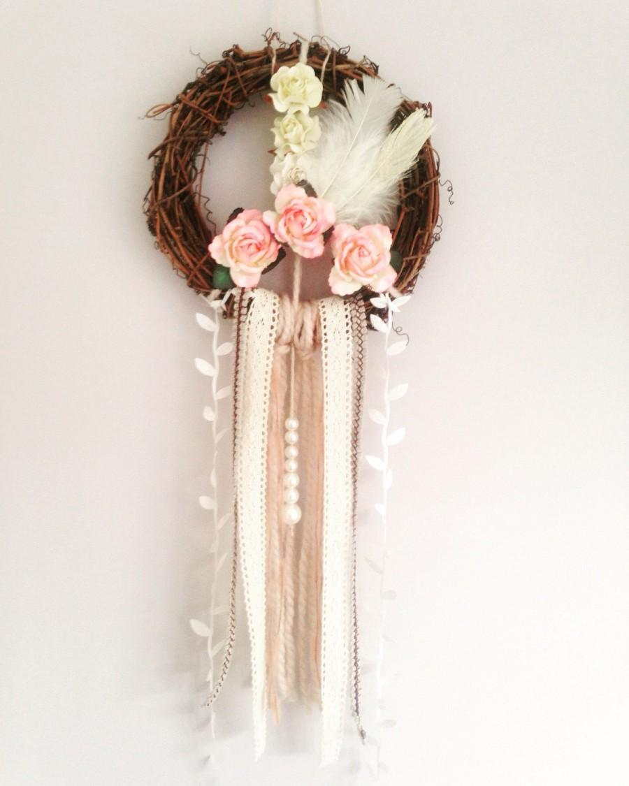Floral Peace Dream Catcher Wall Hanging Bedroom Decor