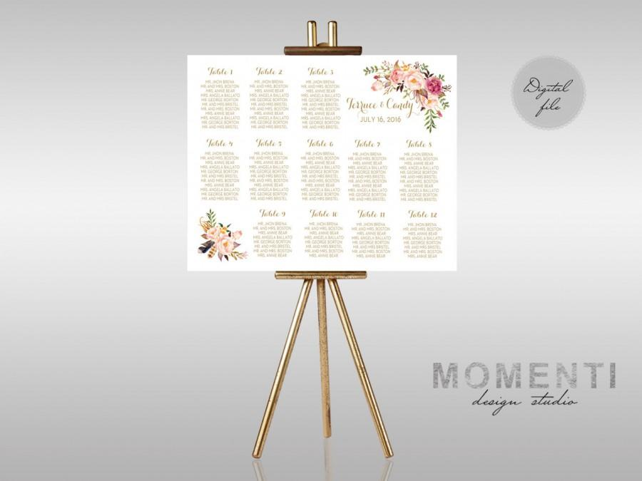 wedding seating chart printable gold guests list watercolor