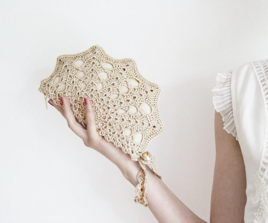 Champagne Golden Clutch Bag Crochet Purse With Wristlet For Wedding Bridesmaid Or Bridal Lace