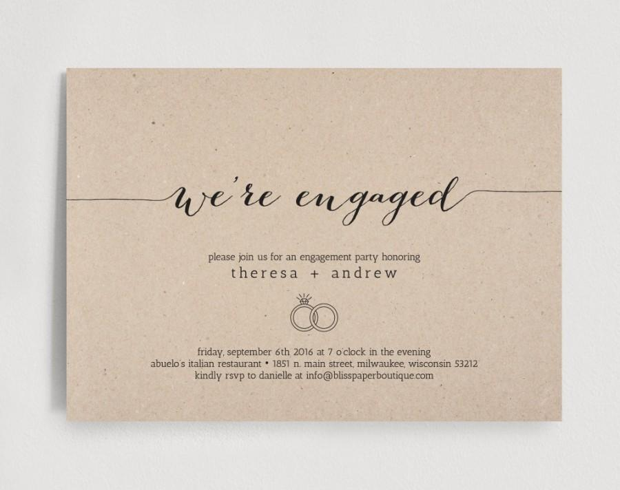Engagement Party Invitation, We\'re Engaged Invitation Editable ...