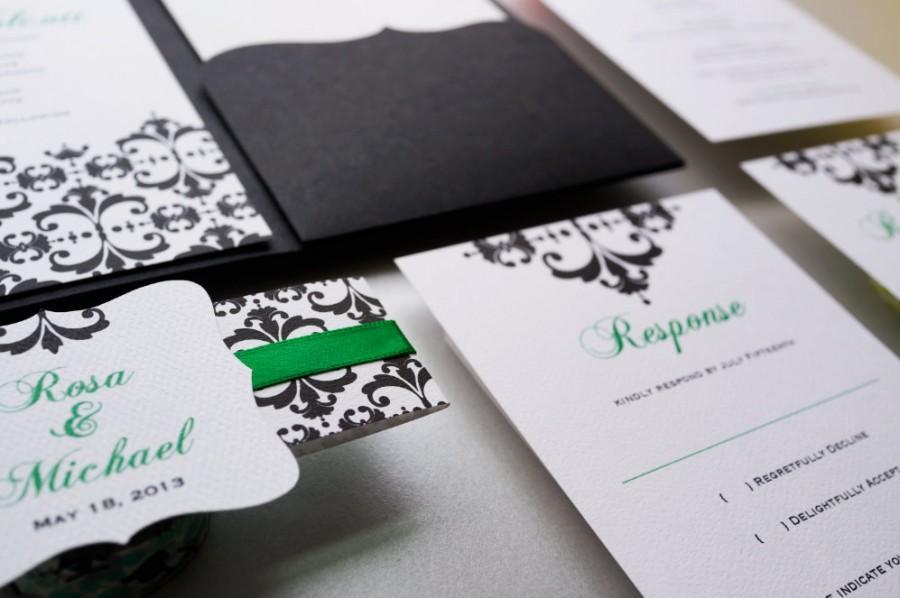 Wedding Invitation, Emerald Green And Black Wedding Invitation ...