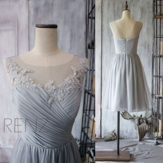 Wedding - 2016 Grey Bridesmaid Dress, Chiffon Cocktail Dress, A Line Gray Prom Dress, Short Lace Wedding Dress, Formal Dress Tea Length (F149)-Renz