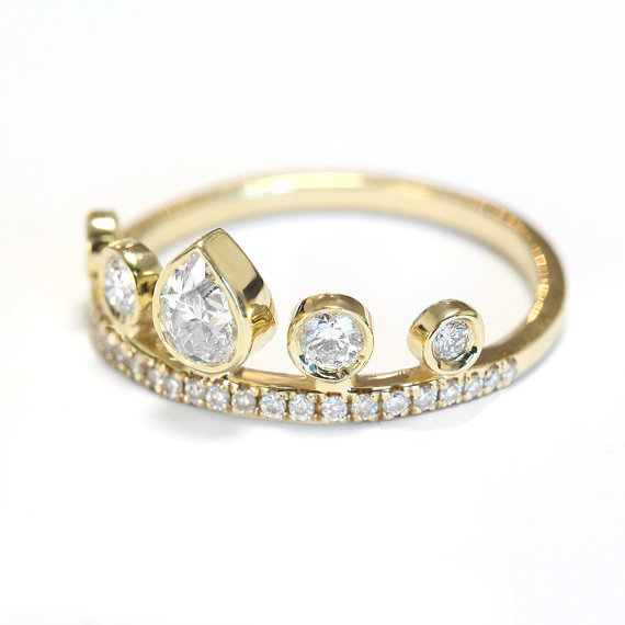 Свадьба - Pear Diamond Crown Engagement Ring - Eternity Ring - Unique Engagement Rings - Pear Shaped Diamond - Crown Ring