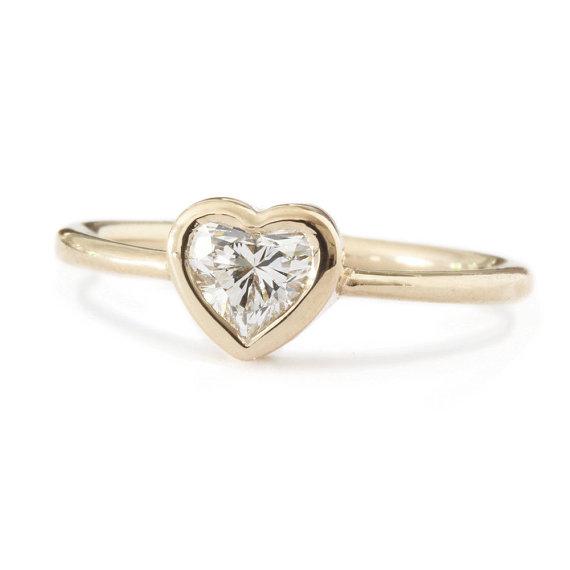 Delicate Heart Ring Bezel Engagement Ring 18K Rose Gold Ring