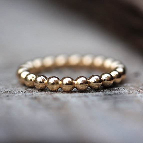 Gold Bubbles Wedding Band, 14K Gold Ring, Womens Wedding Band ...