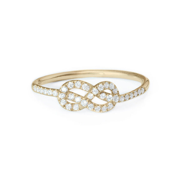 Petite Infinity Ring Diamond Wedding Band Solid Gold Knot Cluster Rings For Women