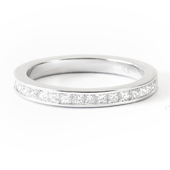 Düğün - Princess Channel Diamond Wedding Band, Unique Wedding Ring, 0.4 Carat Diamond Ring, 14K White Gold Wide Wedding Band, Womens Wedding Band