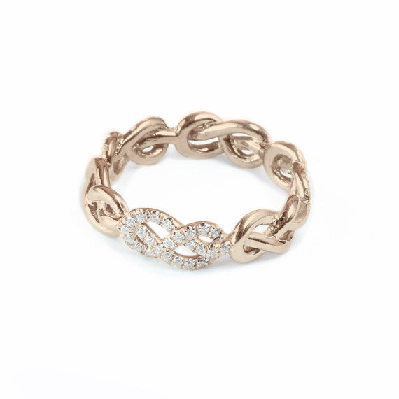 Rose Gold Wedding Band Infinity Knot Ring Diamond Unique Rings Womens Bands