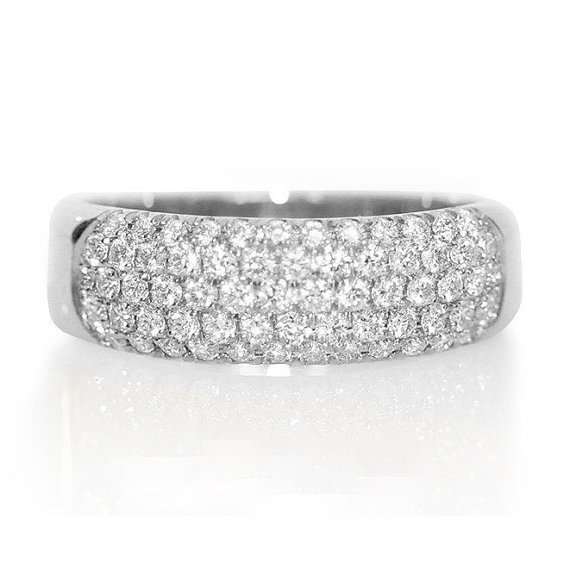 Pave Wedding Band Dainty Ring Unique Wedding Ring 1 Carat Diamond