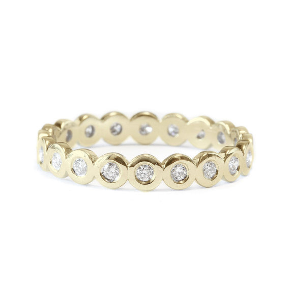 Свадьба - Pave Wedding Band, 14K Gold Ring, Full Eternity Band, 0.3 CT Diamond Ring, Unique Wedding Ring, Delicate Ring, Gold Rings for Women