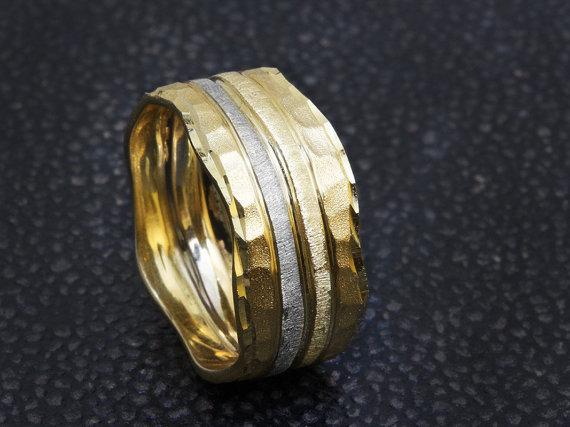 Hammered Ring 14k Gold Wedding Band Unique Wedding Ring