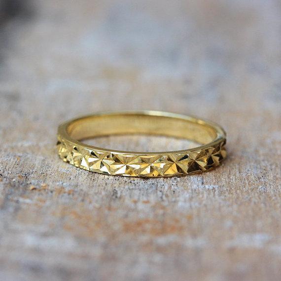 Wedding Ring Diamond Cuts | Thin Gold Unique Wedding Ring Diamond Cut Sparkle Finish 14k Gold