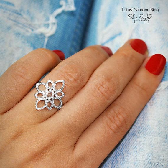 Wedding - Lotus Diamond Ring, Unique Engagement Ring, 14K White Gold Ring, Pave Diamond Ring, Cluster Ring, Flower Ring, Vintage Rings
