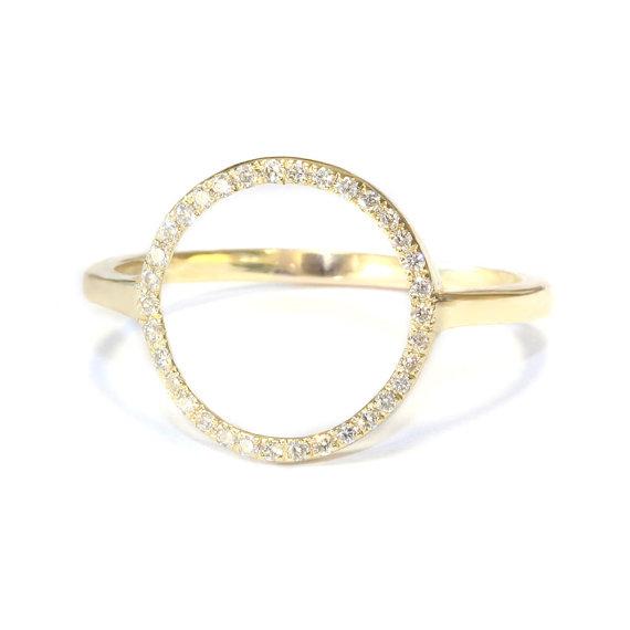 Mariage - Open Circle Diamond Ring - 14K Gold , White Diamonds