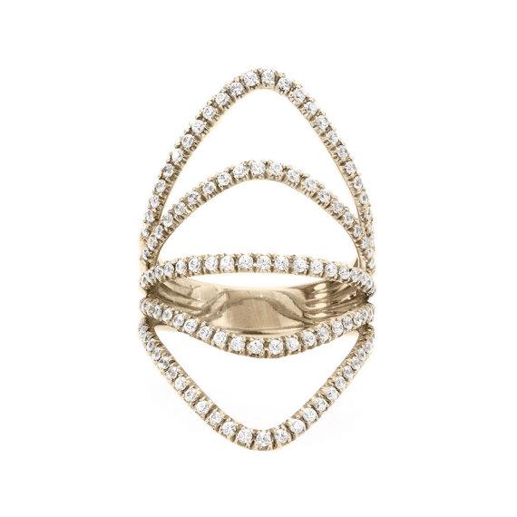 Mariage - Curvy Diamond Skin Diamond Ring, Diamonds Shield Lace Diamond Ring, handmade by Silly Shiny Diamonds