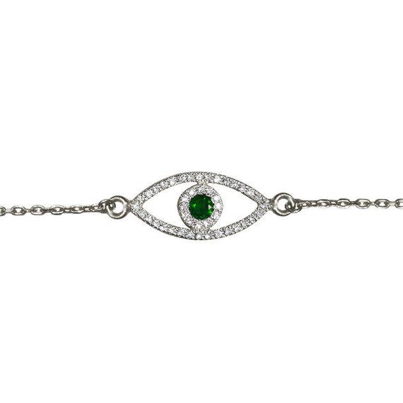 Wedding - Evil Eye Diamond Bracelet With Green Emerald , 14K solid gold.