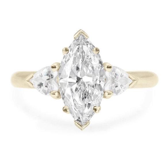 Свадьба - Unique 3 stone Marquise & Hearts Ring Diamond Engagement Ring