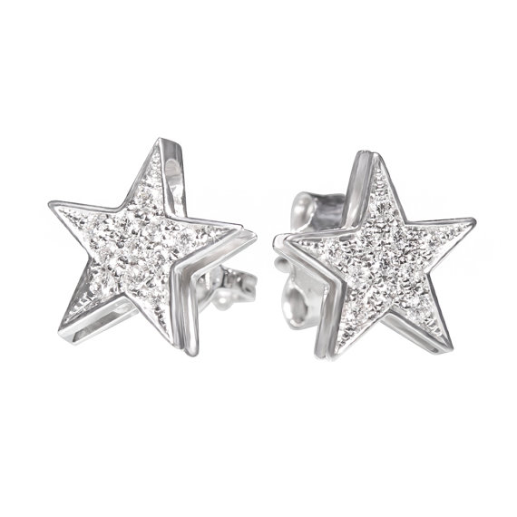 Свадьба - Star Diamond Stud Earrings 14K Gold