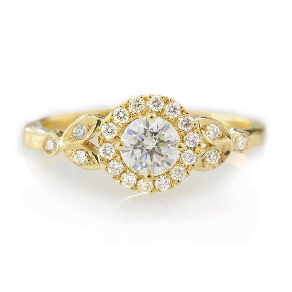 """Wedding - Diamond Engagement Ring with Pave Diamonds Halo """"Rome Crown"""" - 14k Yellow Gold"""