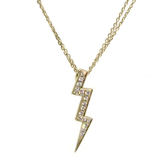 Mariage - Lightning Diamond Pendant Necklace 14k gold - Sweet 16 Diamonds Necklace