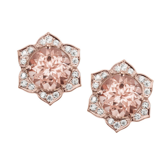 Morganite Earrings Flower Earring Studs Gold Stud Diamond Rose