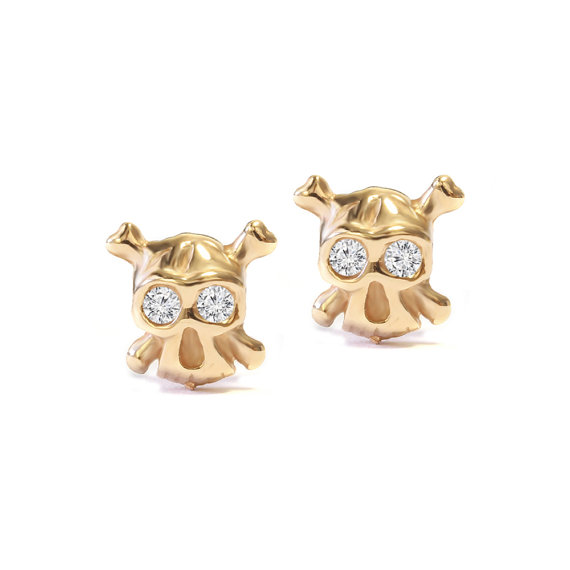 Stud Earrings Gold Diamonds The Ride Or Tiny Skull 14k 18k 0 05 Carat Total Diamond Weight