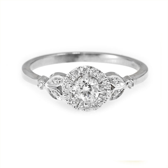 Mariage - Diamond Engagement Ring with Pave Diamonds Halo Crown - 0.3 carat Round Diamond - 18k Solid Gold - 14k Solid Gold