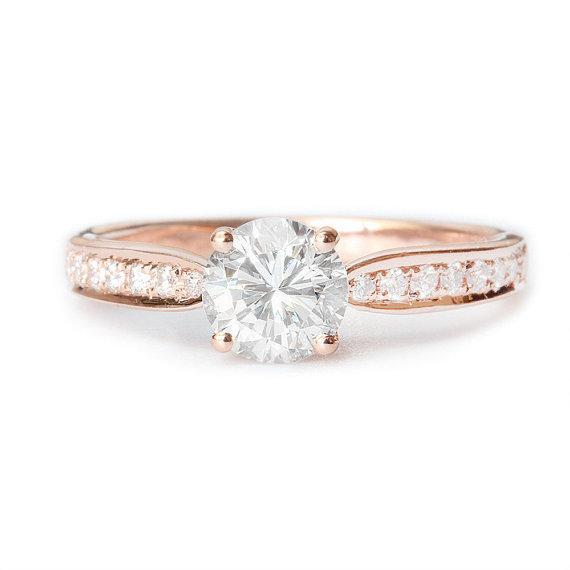 Wedding - Pave Diamond Engagement Ring, 14K Gold Ring, 0.45 TCW Diamond Ring, Crown Ring, Unique Engagement Ring, Vintage Rings